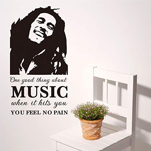 One Good Thing About Music Bob Marley Portrait Wall Stickers for Bedroom Home Decoration DIY Vinyl Decals Quotes Wall Art 107X57Cm