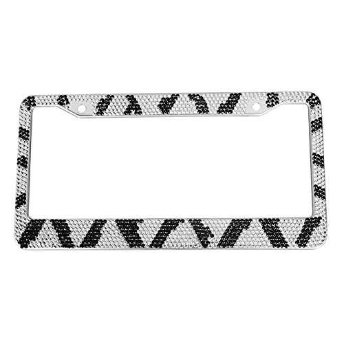 Hensonata Diamond License Plate Frame Zebra Black White Car Licence Plate Covers,Automotive Rhinestones Personalized Waterproof Car Tag Frame for Front and Back with Screws Caps (Personalized Zebra)