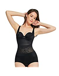 Queenral Slimming Underwear Jacquard Bodysuit Body Shaper for Women Tummy