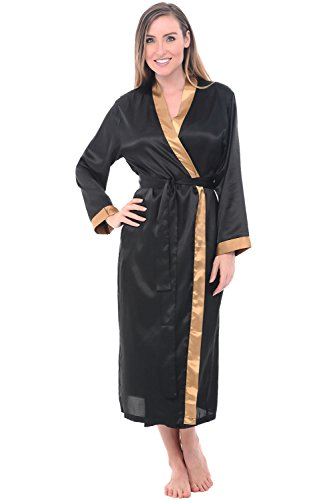 Alexander Del Rossa Womens Solid Colored Satin Robe, Long Dressing Gown