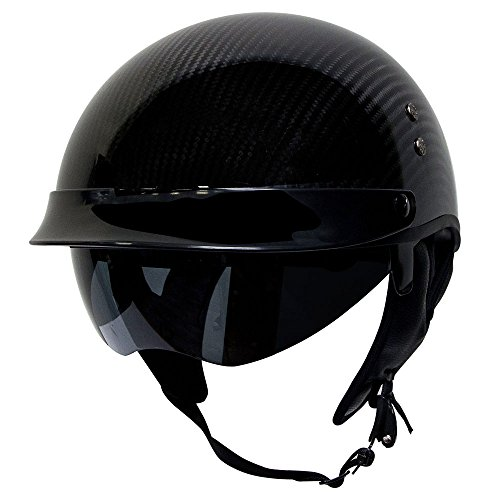 Voss 888CF Genuine Carbon Fiber DOT Half Helmet with Drop Down Sun Lens and Metal Quick Release - M - Gloss Carbon