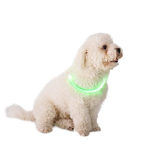 Cuttable Pet Dog LED Luminous Collar USB Charging Optical Style Flashing Night Safty Collar Adjustable Size for All Dogs (Green - Styles Optical