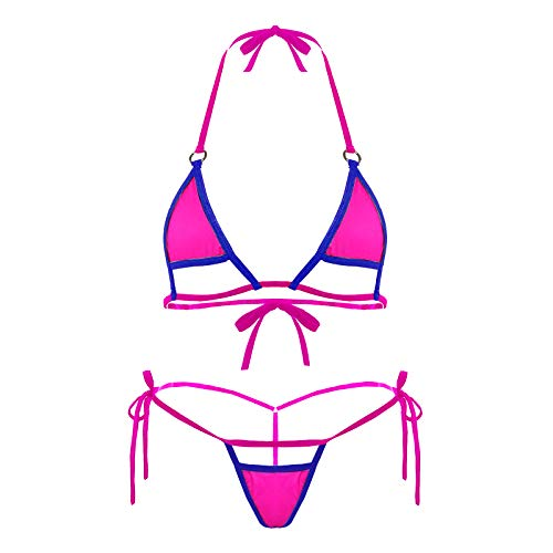 Deer Mum Women Sexy Halter Neck Swimsuit Hollow Micro Mini Bikini Set 2 Pieces (3) Purple