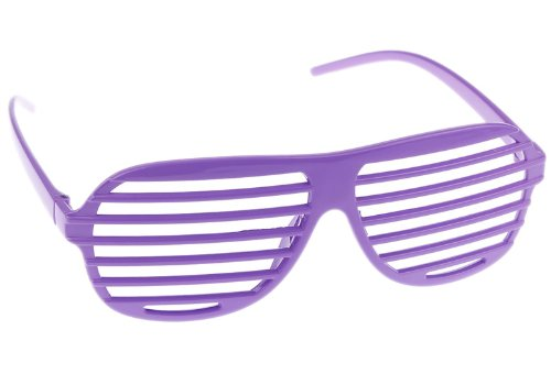 Hip Hop Shutter Shades (Eozy Purple Hip Hop 80's Shutter Shade Sunglasses Party Favors Cosplay Halloween)