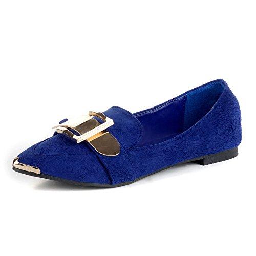 en Sólido Mujeres Ornamento Sin Puntera Plano AllhqFashion con Punta Cerrada Cordones Metal Azul FqHXwnOtS