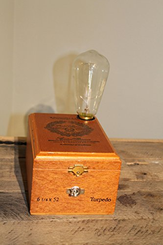 Handmade Park Avenue Special Reserve Cigar Box Lamp with Edison Style Bulb
