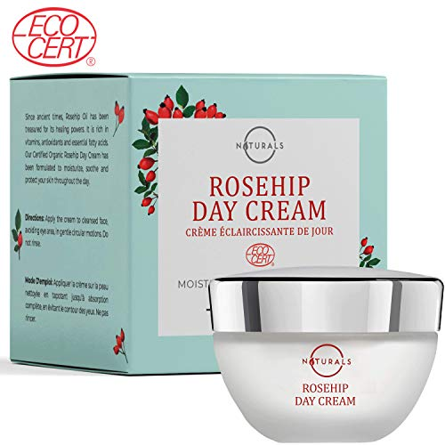 O Naturals Anti-Aging Day Cream. Moisturizes Face, Neck & Décolleté. With Rosehip Oil. Hydrating, Fast Absorbing, Antioxidant, Brightening, Reduces Wrinkles & Fine Lines. Certified Organic. 1.7 Oz