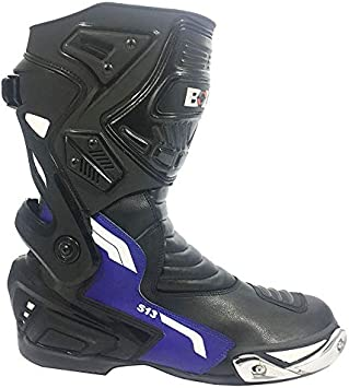 UK 11//EU 45 Bolt S13 Motorcycle Leather Blue Boots CE Approved Commuting Touring Sports Armor Shock Absorber Shoes