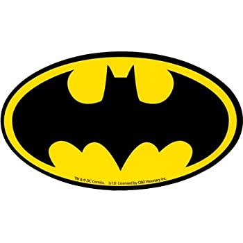 Batman black bat logo on yellow oval sticker decal