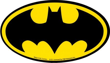 Oval Logo Decal - Square Deal Recordings & Supplies Batman - Black Bat Logo on Yellow Oval - Sticker/Decal