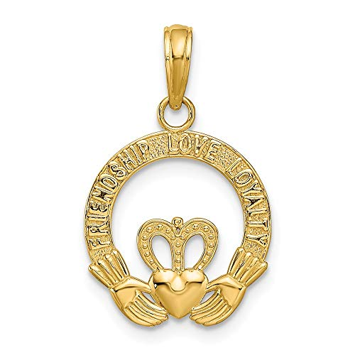 14k Yellow Gold Flat Backed Irish Claddagh Celtic Knot Pendant Charm Necklace Fine Jewelry Gifts For Women For Her ()