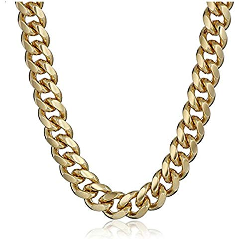 (Cy-Trendy 24K Men's Yellow Gold Plated 6mm Cuban Curb Chain Link Necklace, 36