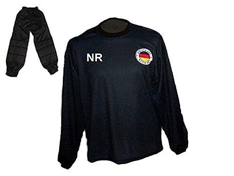 Deutschland Torwart Trikot gepolstert Lange TW Hose mit Wunschname Nummer Kinder Größe 170