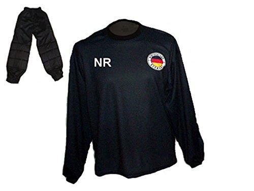 Deutschland Torwart Trikot gepolstert Lange TW Hose mit Wunschname Nummer Kinder Größe 134 Spielfussballshop