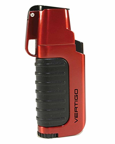 Vertigo by Lotus Trek Double Torch Flame Cigar Lighter with Pouch and Warranty Red (Double Torch Flame Cigar Lighter)