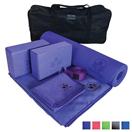 Yoga Set Kit 7-Piece 1 Yoga Mat, Yoga Mat Towel, 2 Yoga Blocks, Yoga Strap, Yoga Hand Towel, Free Carry Case Yoga for Seniors, Exercises Yogis and Mom
