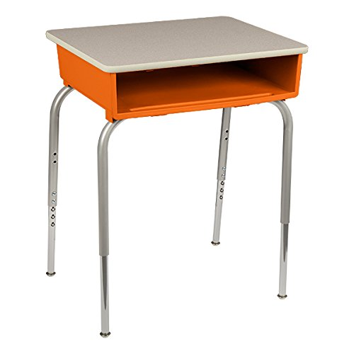 Open Front Book Box - Learniture LNT2200PLGNGRHEMD Open Front Desk w/Plastic Book Box, Gray Top, 22