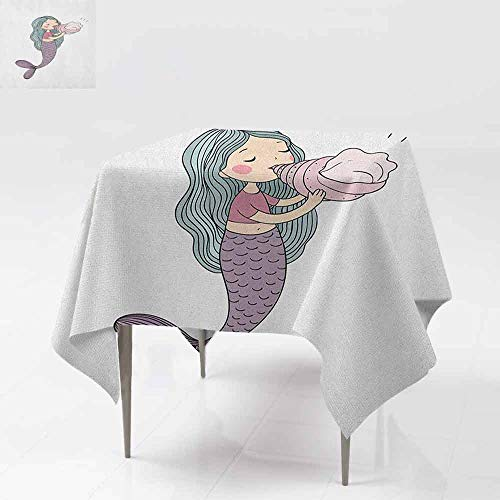 DUCKIL Decorative Textured Fabric Tablecloth Fairytale Character with a Seashell Mythological Underwater Cheerful Childhood Picnic W70 xL70 Multicolor