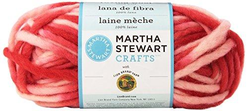 Wool Craft Yarn (Lion Brand 5200-514 Martha Stewart Crafts Yarn, Roving Wool Prints, Rhubarb)