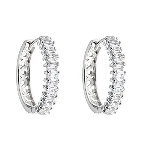 Platinum Plated 925 Sterling Silver Baguette Cubic Zirconia Half Pave Cz And S Pattern Hoop Earrings