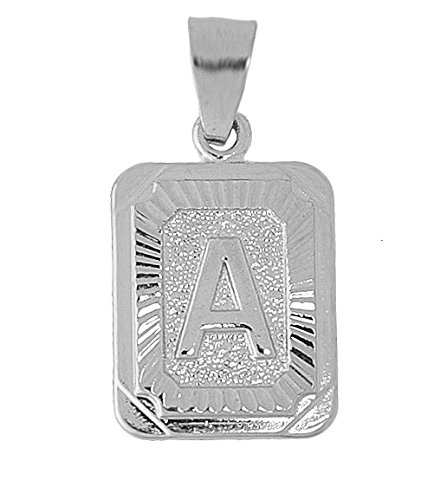 Mens Women Real Sterling Silver 925 Square Initial Letter word A Jewelry charm (Sterling Silver Square Pendant Charm)