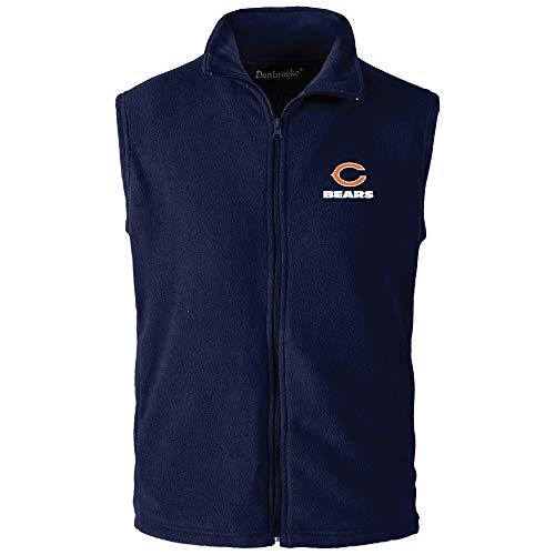 NFL Chicago Bears Mens Houston Fleece Vest, Navy, Medium - Navy Blue Chicago Bears Jacket