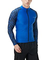 Tesla Men's UPF 50+ Zip Swim Front Long Sleeve Top Rashguard