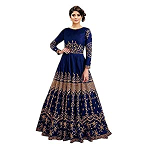 Fast Fashions Women's Embroidered Taffeta Silk Semi Stitched Anarkali Gown (Blue_Free Size)