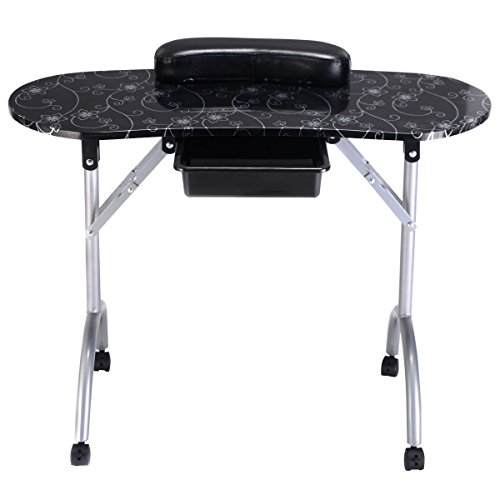 Good concept Nail Table Portable Black Manicure Station Desk Spa Beauty Salon Equipment New
