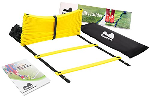 Reehut Agility Ladder w/ FREE USER E-BOOK + CARRY BAG - Speed Training Equipment (Yellow, 20 Rungs)