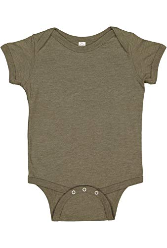 - Rabbit Skins Infant 100% Cotton Jersey Lap Shoulder Short Sleeve Bodysuit (Vintage Military Green, 6 Months)