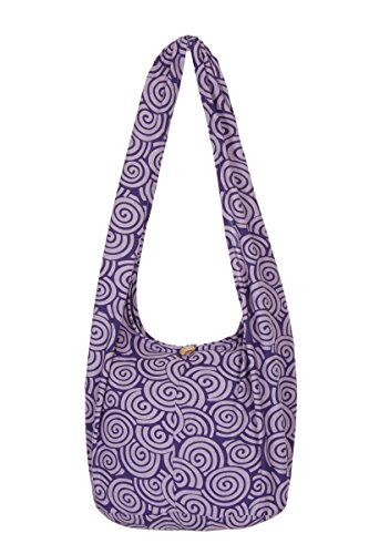 Thai Hippie Sling Monk Bag Purple Pattern
