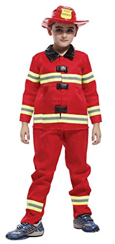 Kids Fire Chief Role Play Boys Firemen Cosplay Costumes Firefighter Dress Up (X-Large)