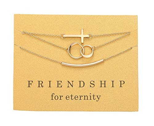 Zealmer Friendship for Eternity Gift Bracelets Set Gold Cross Circles Link Curved Tube Bracelet for - Tube Gold Bracelet