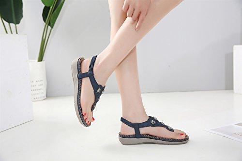 Azul Y Planos 2018 Rhinestones Zapatos Xiaoqi Nuevas Sandalias De Bohemian Femeninas Tamaño Americanas Gran Europeas xIzI6q