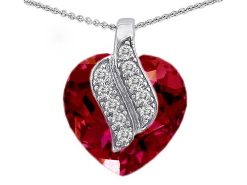 Soul Mate Heart (Star K Large 15mm Heart Shape Created Ruby Soul Mate Pendant Necklace Sterling Silver)