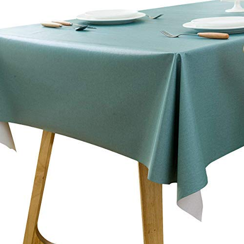 LEEVAN Heavy Weight Vinyl Rectangle Table Cover Wipe Clean PVC Tablecloth Oil-Proof/Waterproof Stain-Resistant ()