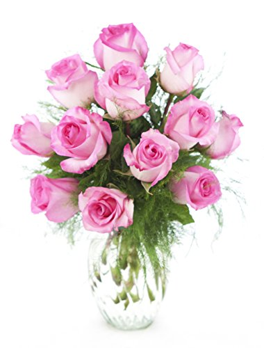 Pink Roses 12 with Greens Bouquet, with Vase