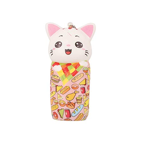 Fangoog Squishy Mini Adorable Cat Doll Toys (1 Pack), Cute Animal Slow Rising Jumbo Soft Toys Cream Scented Stress Reliever Toy Gifts for Kids Adults Party (10x4.7x2cm) (Pink)