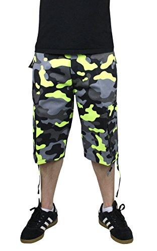 Access Men's Camouflage Cargo Shorts with Belt Black-Volt 38