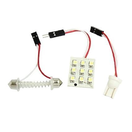 Amazon.com: eDealMax de blancos automático 1210 3528 SMD 9 LED del bulbo de la bóveda de la lámpara de luz Mapa w adaptador de Adorno T10: Automotive