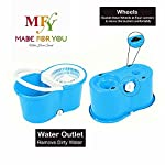 MFY Spin Bucket Mop with 1 Extra Refill | 360 Degree Spin Mop, Oval Bucket with Plastic Basket, 2 Refills (Blue)