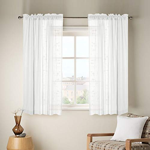 Linen Sheer Curtains with Two Bonus tieBack for Bedroom Back Tab/Rod Pocket W52 inch X L63 inch White Set of 2 Panels