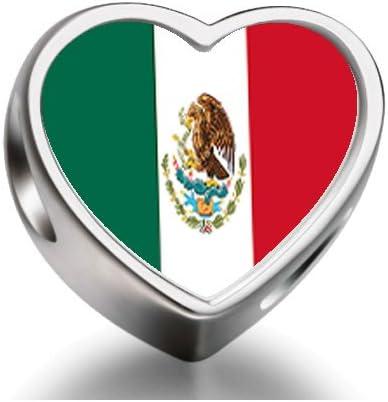 Mexico flag Heart Photo charm beads fit pandora bracelets: Amazon ...