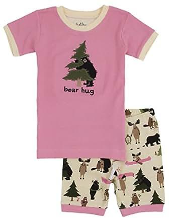Little Blue House By Hatley Girls' Short Pajama Set,Pink Bear Hug,2