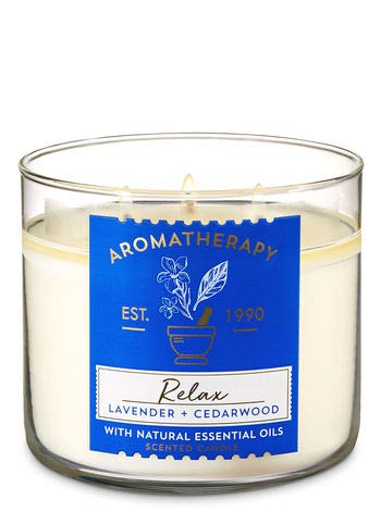 Bath & Body Works 3Wick Candle-Relax-Lavender & Cedarwood Aromatherapy Scented Candle (Best Rated Bath And Body Works Scents)