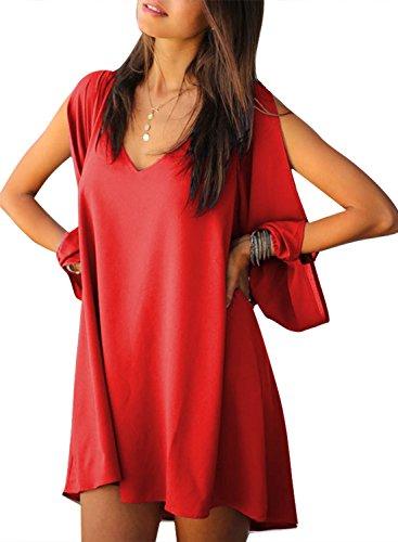 Women Summer Chiffon Loose Dress Red XL - 1