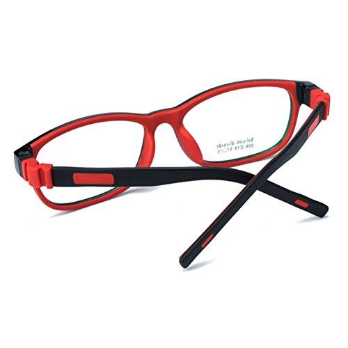 Filles Garçons Lunettes - Silicone - Verres à lentilles transparentes Cadre Geek / Nerd Eyewear Lunettes avec boîtier en forme de voiture - hibote Noir rouge