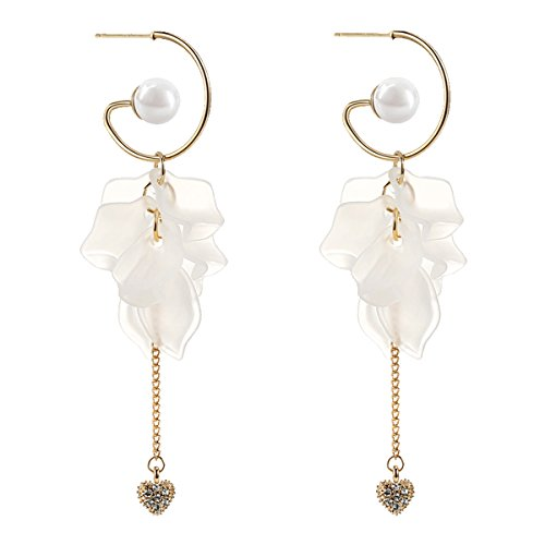 Merdia Dangle Earrings Faux Pearl Synthetic Resin Petals Drop Long Earring For Women