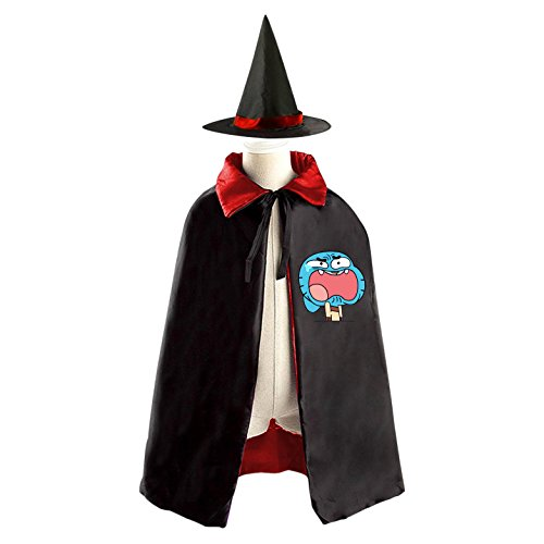 Darwin Gumball Costume (Kids Wizard Witch Costume Set Gumball Cosplay Party Reversible Cape With Hat)